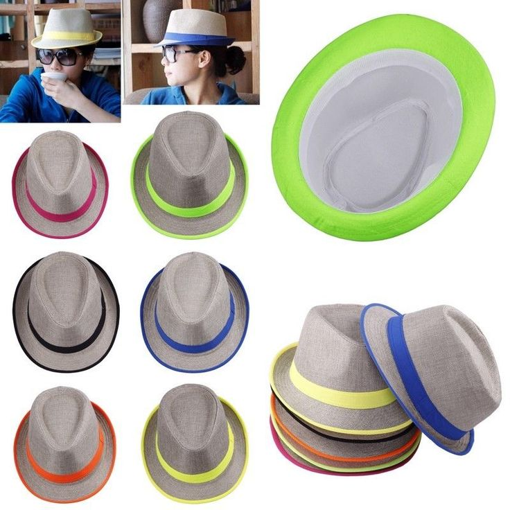 Unisex Fedora Trilby Gangster Cap Neon Brim Summer Beach Panama Womens Sun Hat #unbranded #FedoraTrilby