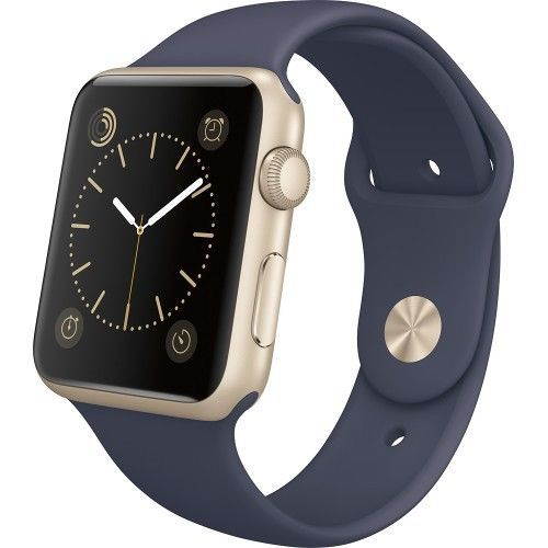 NEW APPLE WATCH SPORT 42mm GOLD ALUMINUM CASE WITH MIDNIGHT BLUE SPORT BAND #Apple