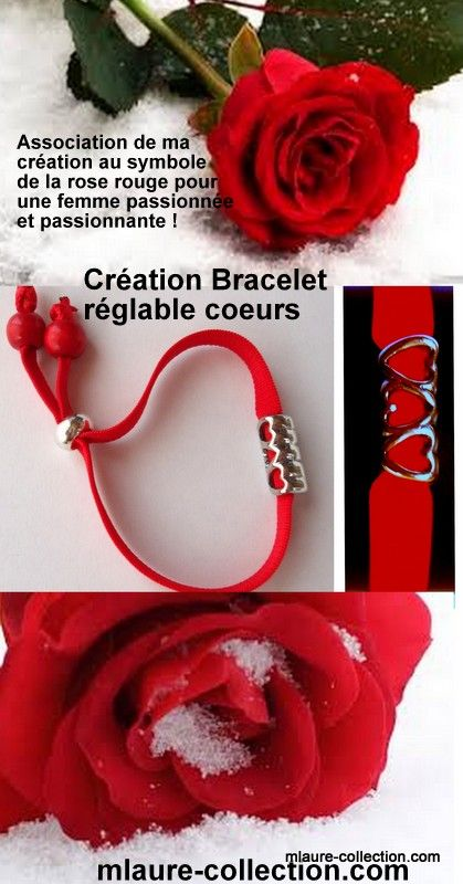 Une création mlaure-collection.com, un bracelet élastique réglable 3 coeurs !
