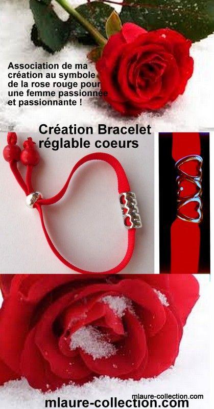 Une création mlaure-collection.com, le bracelet élastique 3 coeurs !