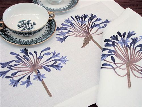 Anali Embroidered Table Linens - Anali Agapantha Napkins-Placemats-Runners-Cafe Towels
