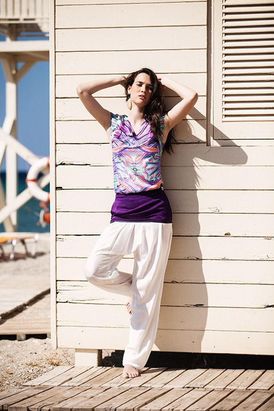 Printed V-neck bamboo top (TSS157A) / Harrem bicolor bamboo pants with decorative zip (PSS151B) Menesthò visit www.menestho.com to pre-buy #menestho #ethical #sustainable #fashion #resortwear #ss15