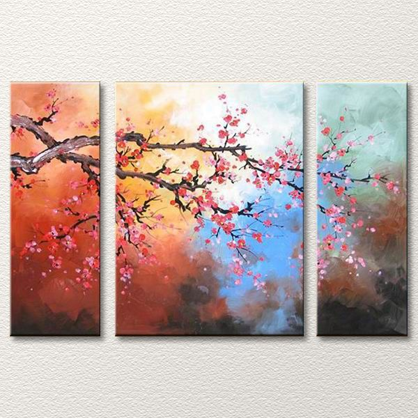 Reaching Out | Tree Canvas Art | 3 Piece Floral Oil Painting
