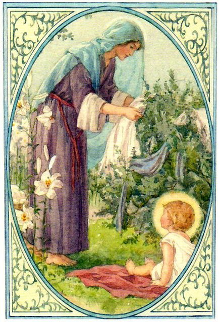 A sweet interpretation of The Polish Madonna as Mary is hanging laundry while The Baby watches, by Cicely Mary Barker
