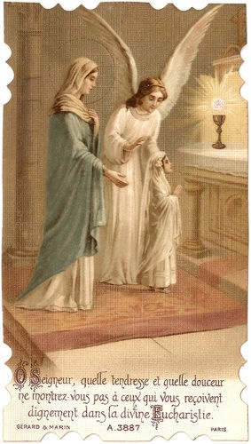 Antique French Holy Card Tenderness & Sweetness Divine Eucharistfor my Bethany