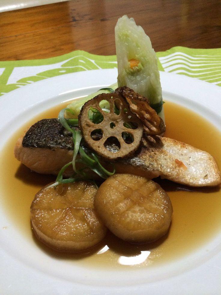 Pan Fried Salmon with Dashi Broth, Wombok Roll and Daikon Radish #glutenfree #japanesemodernfood
