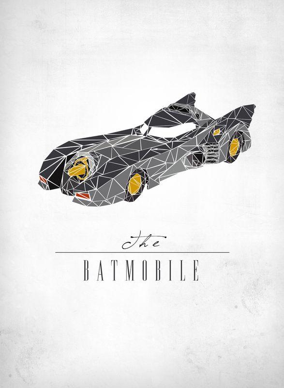 "The Batmobile - Famous Movie Vehicle Polygon Art - GeekTyrant - Famous Automobiles ""University Driving School"""