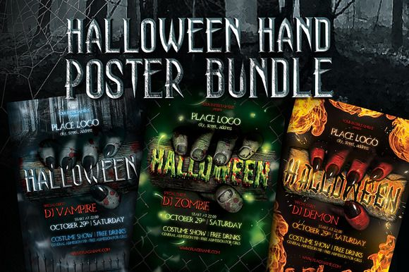 Halloween Hand Poster Templates by FonDrakes on @creativemarket