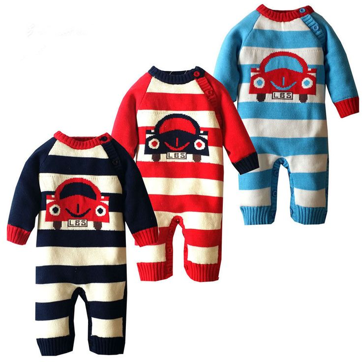 Baby Rompers Winter Thick Climbing Clothes Newborn Boys Girls Cotton Romper Sweater Classic Car Pattern Outwear For Age 6M-18M