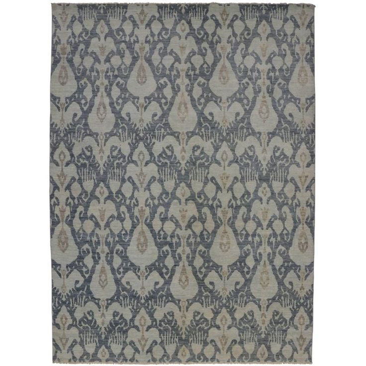 Modern Light Blue and Slate Transitional Ikat Rug | From a unique collection of antique and modern indian rugs at https://www.1stdibs.com/furniture/rugs-carpets/indian-rugs/