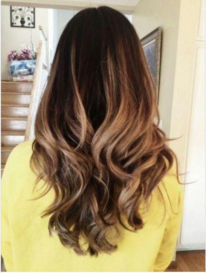 Stunning blonde highlights on dark brown hair