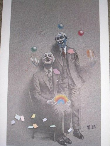 """Art Poster by Bill Nelson Entitled The Jugglers 15"""" x 24"""". I still stare at the way he illustrated the motion of the arm in colored pencil. Love the floating cards."""