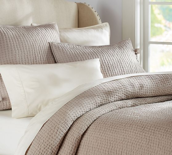 Pick-Stitch Quilt & Sham | Pottery Barn  Taupe and make a colorful crochet throw at foot
