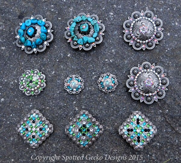 Custom Order Crystal Conchos and Buckles Barrel Racing Bling Horse Tack Swarovski Jewelry Unique One of a Kind OOAK Equestrian Western Rider by SpottedGeckoDesigns on Etsy https://www.etsy.com/listing/250428934/custom-order-crystal-conchos-and-buckles