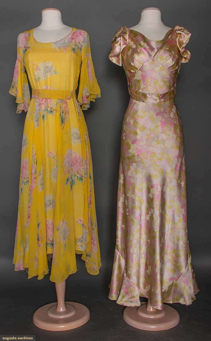 """TWO PRINTED SILK DRESSES, 1930s 1 buttercup yellow silk chiffon w/ pink & gray rose blossom print, fluted short sleeves, skirt w/ floating panels, pale pink underslip, B 32"""", H 40"""", L 41"""" (some seams unstitched, hole in belt) very good; 1 white, lavendar, & pink floral print silk charmeuse, bias cut, cowl neckline, LB w/ peplum & fabric poppies"""