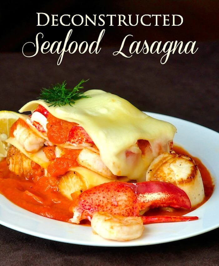 Seafood Lasagna with Roasted Fennel Tomato Sauce - a deconstructed version that can be easily plated just before serving for a very impressive presentation. The subtle flavour of the roasted fennel tomato sauce pairs perfectly with the succulent seafood.