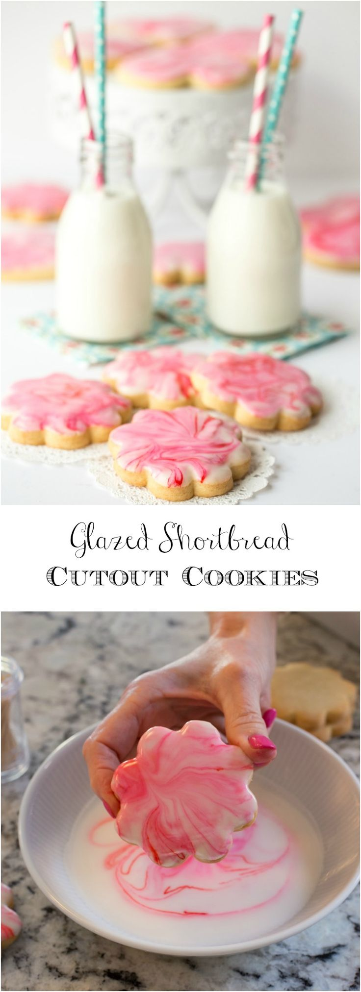 Glazed Shortbread Cutout Cookies - melt in your mouth buttery crisp shortbread cookies with a beautiful (and delicious!) glaze.