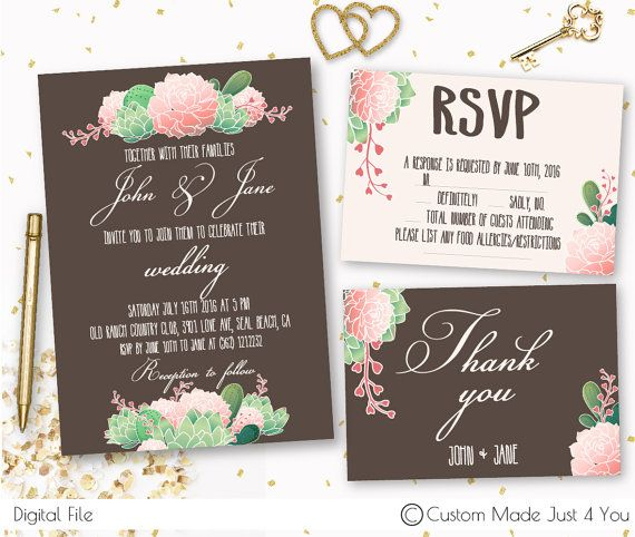 Floral Wedding Invitation Printable Wedding by CustomMadeJust4You