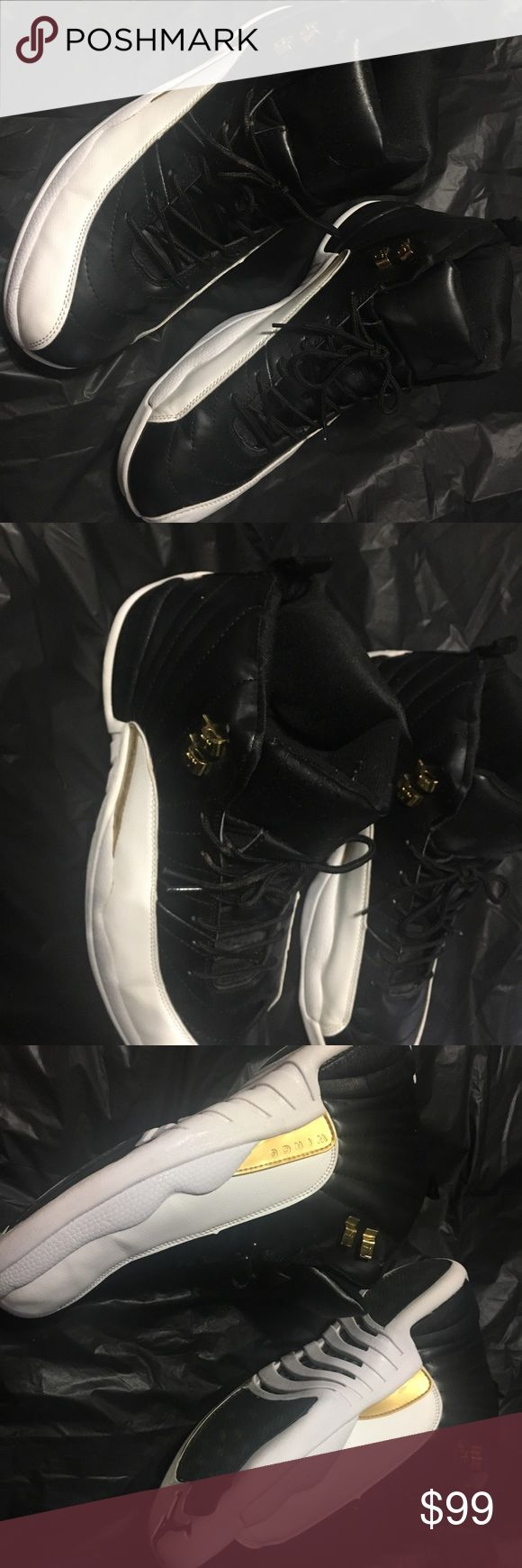 "Mens Sz 13 JORDAN RETRO 12 ""WINGS"" TENNIS SHOES GREAT USED CONDITION ‼️  Description: Purchased last Christmas  JORDAN RETRO 12 ""WINGS"" BLACK/WHITE/METALLIC GOLD  SOME WEAR NOTED ON SOLES-STILL HAVE ALOT OF LIFE LEFT IN THEM‼️ SMOKE FREE HOME ‼️ Air Jordan Shoes Athletic Shoes"