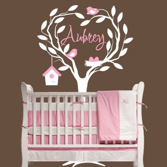 Children wall decal nursery personalized with name decor - Babyzimmer vintage ...