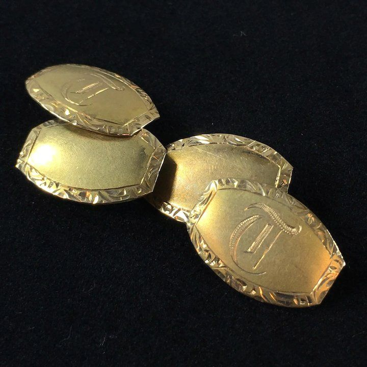 14k Gold Art Deco Cufflinks 4 Grams Gold Art Deco Cufflinks Art Deco
