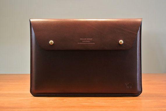 Leather Portfolio Case Mac book Air 11 Case by BlackSheepLeatherUK