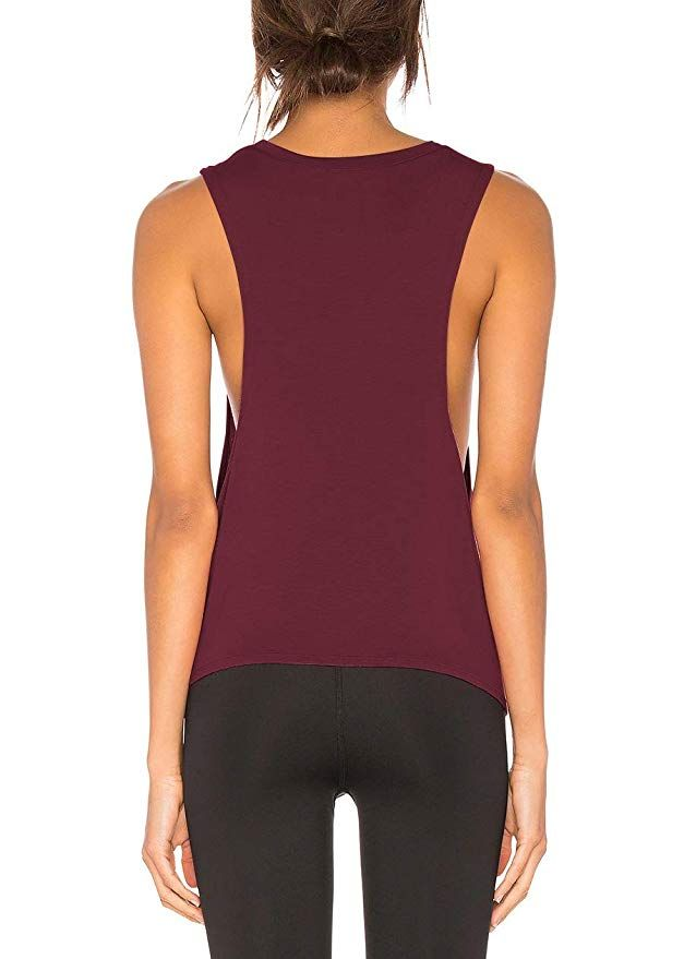 133c7a9f69f4 Bestisun Women s Boat Neck Cute Short Tshirt Loose Fit Shirt Yoga Sport  Casual Tank Tops Wine Red L at Amazon Women s Clothing store