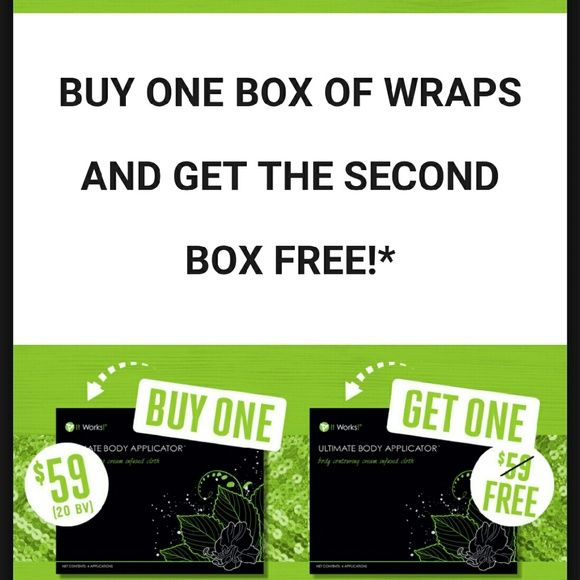 It Work Wraps Sale, Sale,  Sale! GET 8 Wraps for $59 dollars! Yeah I said it $59 dollars! It Works Wrap tighten, tone, and firm any problem area you have.  Come shop with me @ www.feelamazing.itworks Other