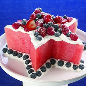 Melon Star Cake 3inch height, 3/4 cup whipped cream, 1 1/2 cup blueberries, 1 cup strawberries, 1/2 cup raspberries.