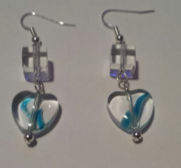 Simple Clear Drop Heart Earrings with blue swirl - Handmade By Lauren - Made in Australia
