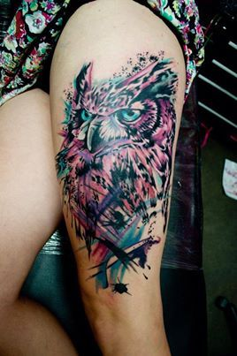 Jay Van Gerven Tattoo/Arts A clearer settled shot of the owl thigh piece from Melbourne