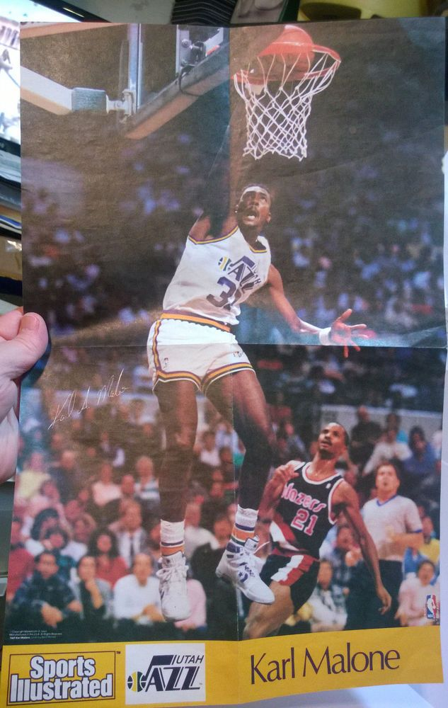 karl malone utah jazz sports illustration poster 1980's era from $8.99
