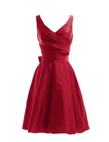 Dressystar Robe de demoiselle d'honneur/de soirée courte, à Col en V, Sans Manches, avec une Ceinture, en Taffetas: Amazon.fr: Vêtements et accessoires