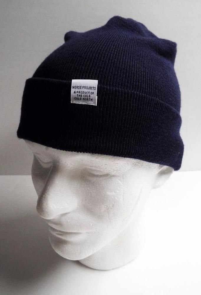 Norse Projects Classic Beanie 100% Extrafine Merino Wool Top Beanie Navy Blue #NorseProjects #Beanie