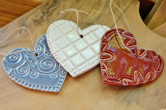 Heart Ornament  Red / White / Lilac Ceramic by StoneLotusPottery, $10.00