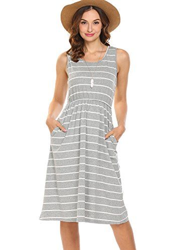 6286aac129c4b  17.99 Hount Women s Summer Sleeveless Striped Empire Waist Loose Midi  Casual Dress With Pockets (Grey