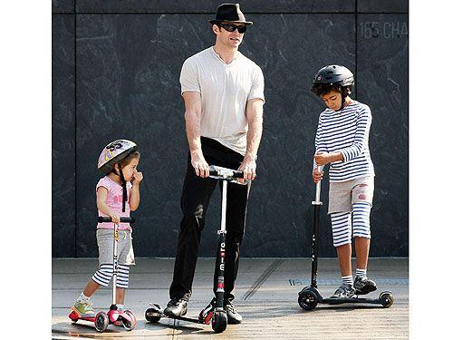 Hugh Jackman with kids Ava & Oscar (www.microscooters.com.au or www.microscooters.co.nz)