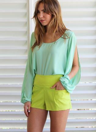Green Shorts - Lime Green High Waisted Shorts