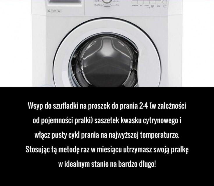 Wsyp do szufladki na proszek do prania 2-4 (w zależności od pojemności pralki) saszetek kwasku cytrynowego i włącz pusty cykl ...