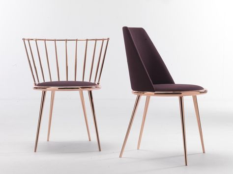 Chairs made of cold-processed cone-shaped iron, laser-cut, shaped and bent, continuous wire feed welded, hand-rubbed and hand-polished. Electroplating bath finishing, minimum thickness 25 μm. Padded chair version: with seat and back made of shaped bent wood, foam-rubber padding and tailored upholstery (non-removable). Upholstered chair with entirely removable cover. Barred-back chair version: internal stay rods assembly, bent wooden seat, dual density foam-rubber padding and tailored…