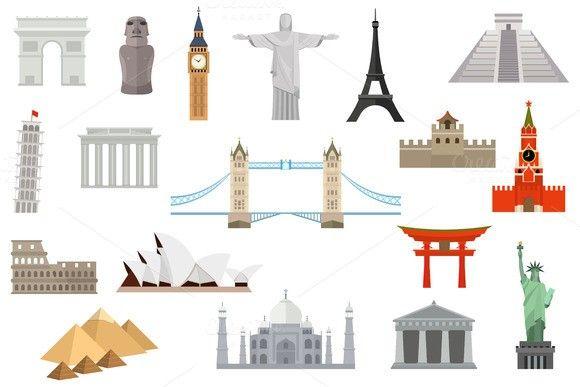 Famous landmarks worldwide. Travel Infographics. $5.00