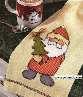 Santa applique tea towel