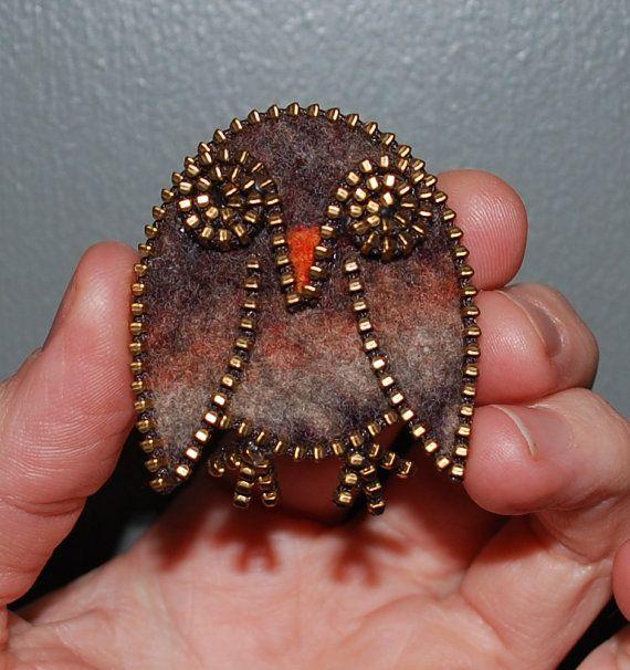 Fermeture à glissière et laine feutrée recyclé Zipper Broche/Pin-hibou