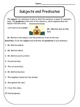 Mr Morton Subject And Predicate Worksheet Grade 4