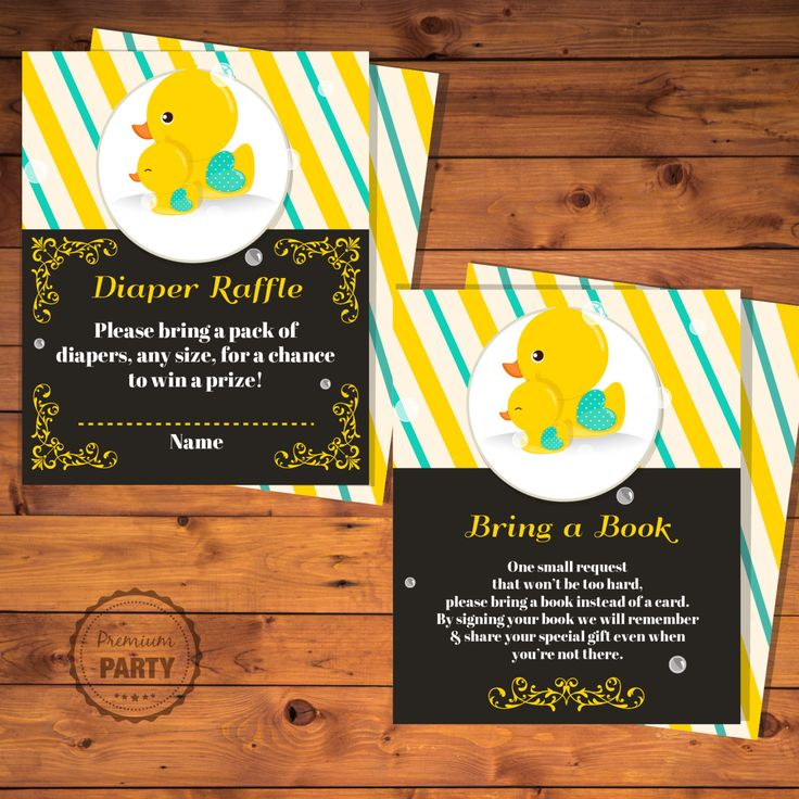 baby shower invitation wording for bringing diapers%0A Diaper raffle card  Bring a book insert  Rubber duck baby shower  Printable baby  shower invitations  by PremiumParty on Etsy