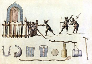 A petard, from a seventeenth-century manuscript of military designs. A small bomb used for blowing up gates and walls when breaching fortifications. It is of French origin and dates back to the 16th century. A typical petard was a conical or rectangular metal device containing 2–3 kg of gunpowder, with a slow match for a fuse.
