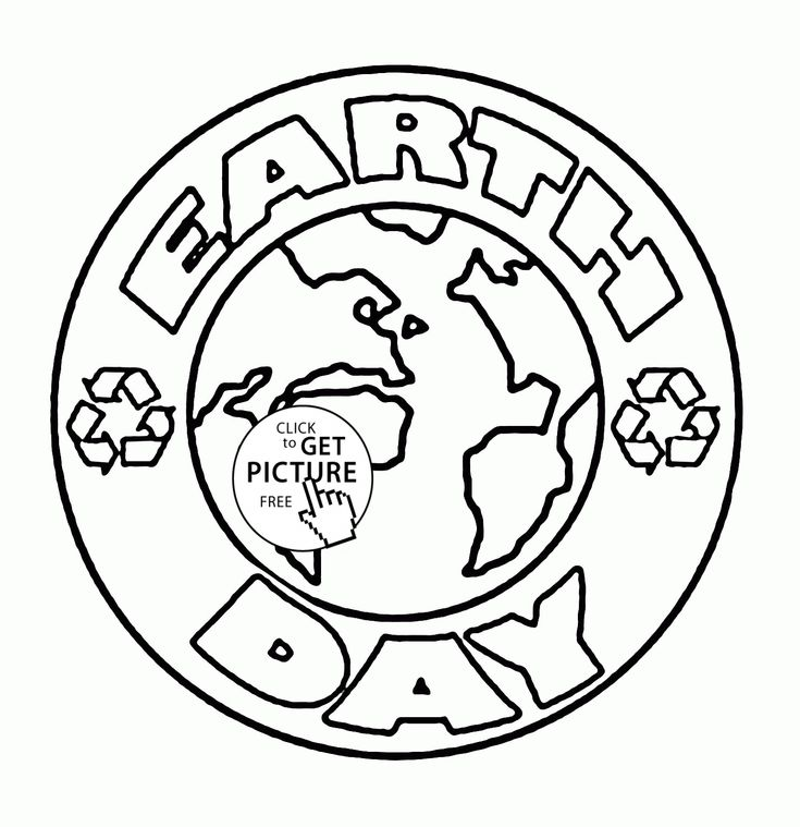 Logo Earth Day coloring page for kids, coloring pages
