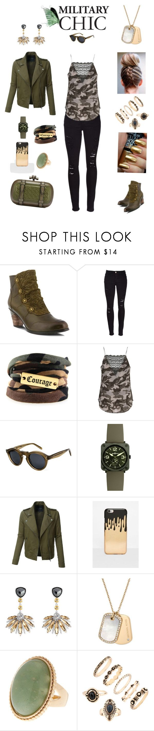 """MILITARY CHIC"" by hopesparksembers ❤ liked on Polyvore featuring Spring Step, Frame, Custommade, CÉLINE, Bell & Ross, LE3NO, Missguided, Henri Bendel, Michael Kors and GREEN"