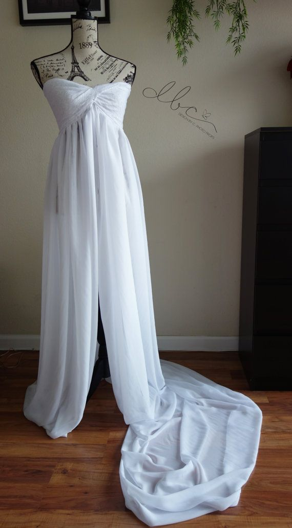 Twisted lace top maternity chiffon gown/maxi by designbycboutique