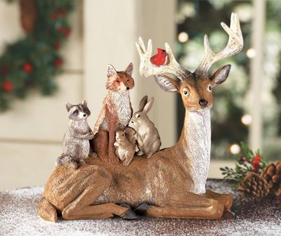 Deer with Animal Forest Friends Figurine